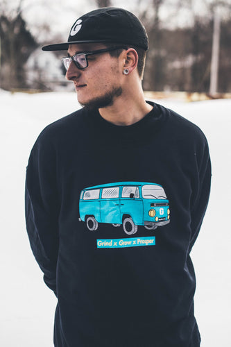 "Exclusive ""Worldwide van"" Crewnecks - Grind x Grow x Prosper Clothing Co."