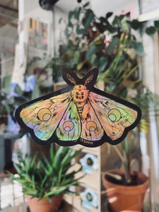 Holographic Moon Moth Sticker