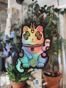 Holographic Lucky Space Cat Sticker