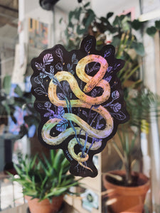 Holographic Snake with Plants Sticker