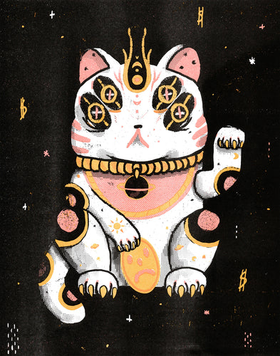 Lucky Space Cat 11 x 14 RISO Print