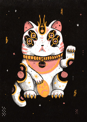 Lucky Space Cat RISO Print