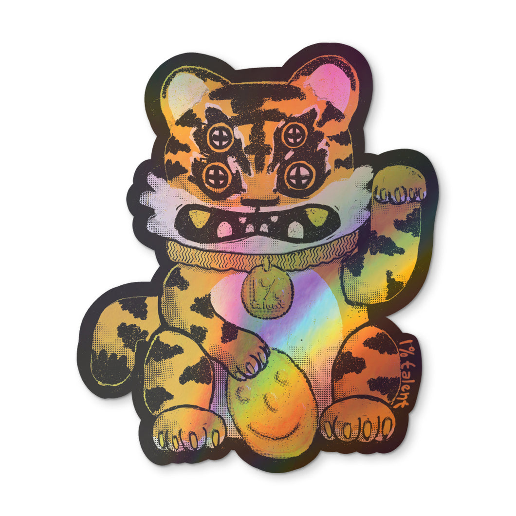 Holographic Lucky Tiger Cat Sticker