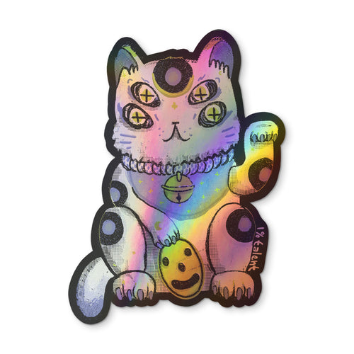 Holographic Lucky White-Blue Cat Sticker
