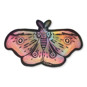 Holographic Pink Moth Sticker