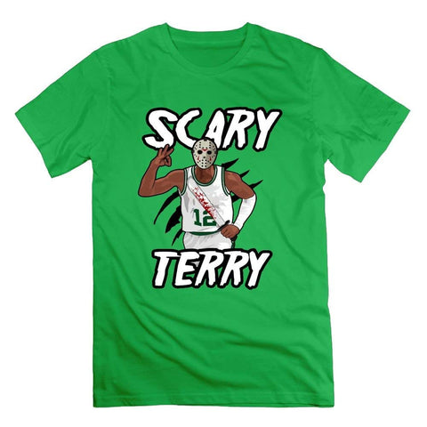 Quxiangy Scary Terry Shirts for Men Basketball Gift T-Shirt