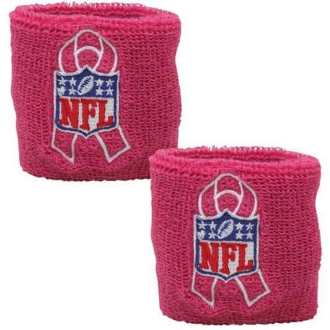 2-pk NFL Shield Cotton Wrist Bands Breast Cancer Pink FAST SHIP! A56