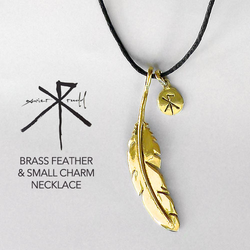 Jewellery | Brass Feather & Small Charm Necklace