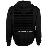 Hoodie | 'The Armour You Own' on Black Zip - Dead Letter Circus - The Racket Club