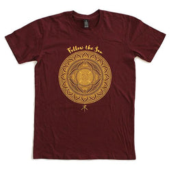 T-Shirt | 'Follow the Sun' on Burgundy