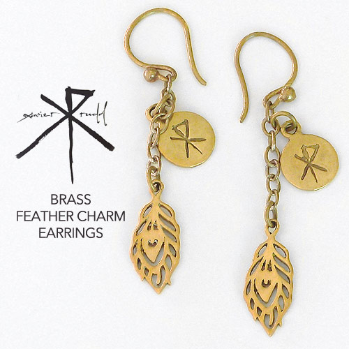 Jewellery | Brass Feather Charm Earrings