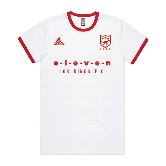 T-Shirt | 'Eleven' Football Jersey on White/Red Ringer