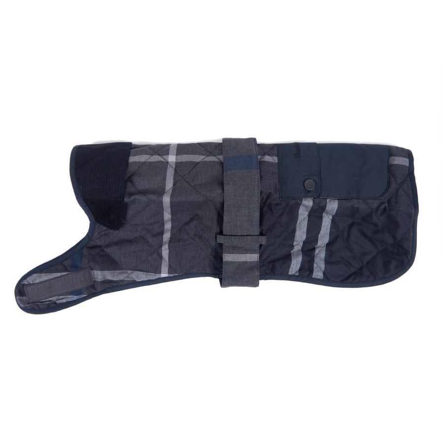 Barbour Quilted Tartan Dog Coat Graphite Tartan