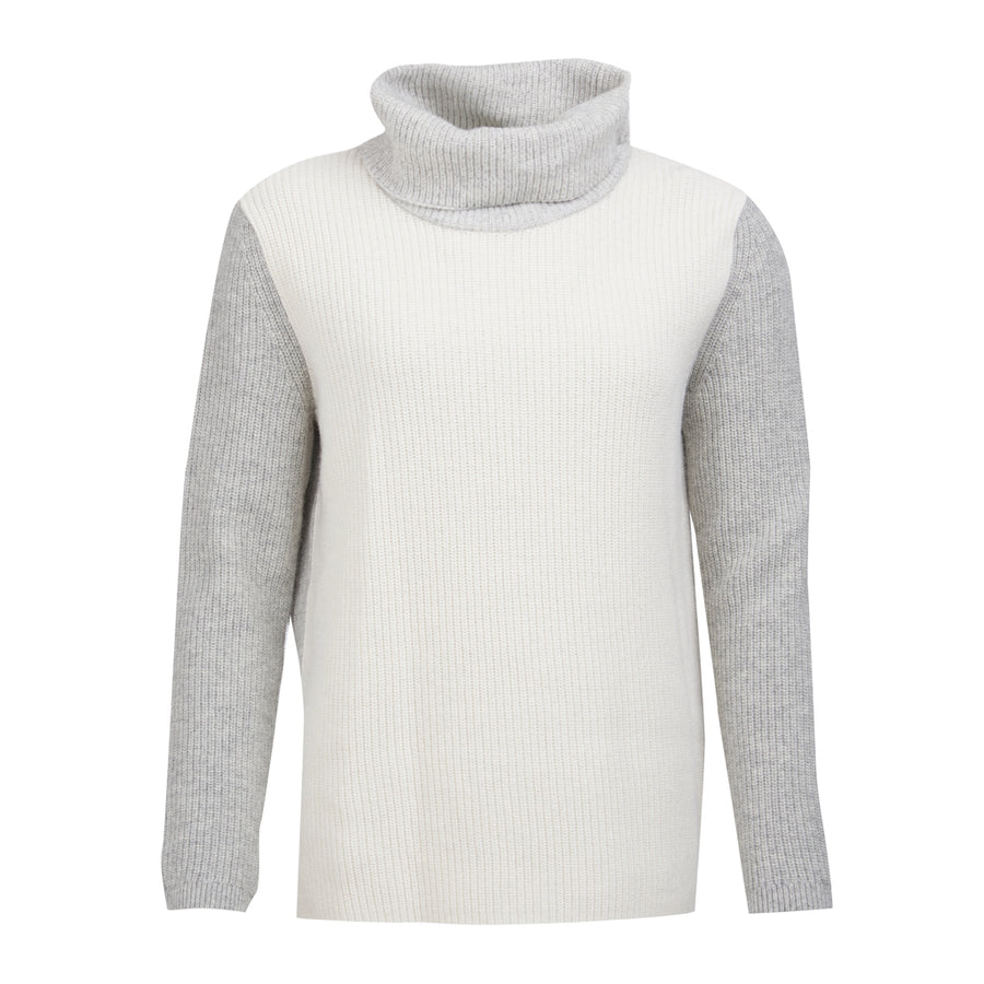Barbour Women's Dipton Knit Sweater with Rolled Neck Cloud with Grey Marl