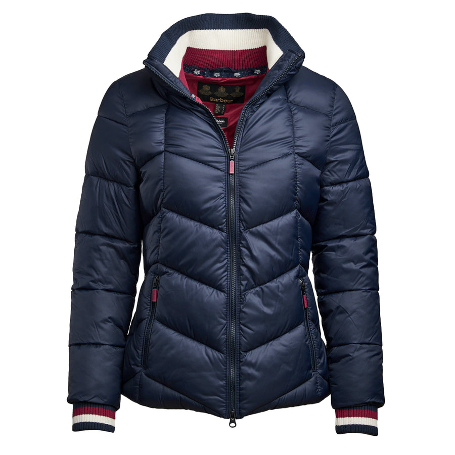 Barbour Women's Gangway Quilted Jacket Deep Pink with Navy