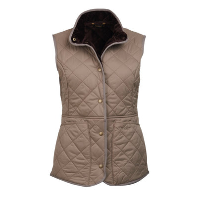 Barbour Women's Jasmine Quilted Gilet Taupe with Dark Brown