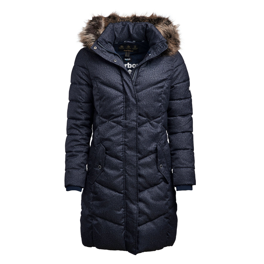 Barbour Women's Sternway Quilted Long Jacket Navy Marl