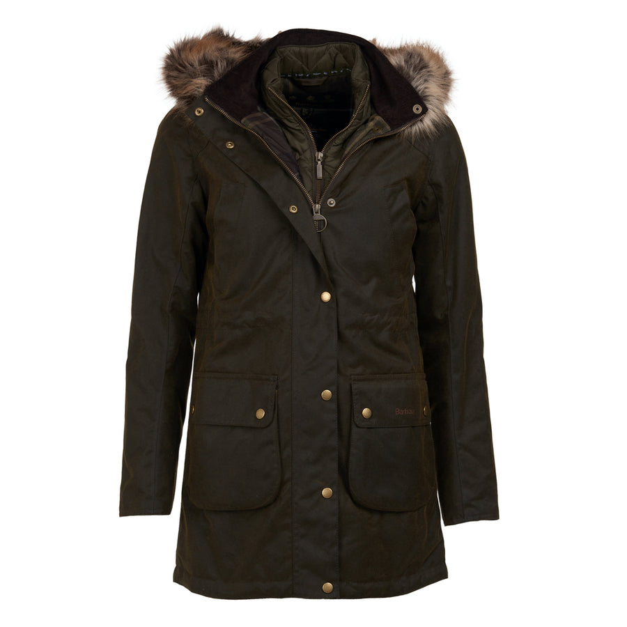 Barbour Women's Thrunton Insulated Waxed Long Jacket Olive