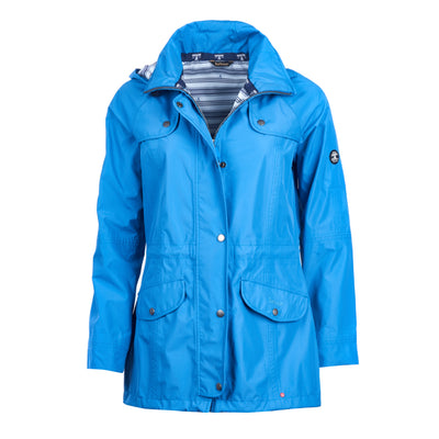 Barbour Women's Trevose Rain Long Jacket Victoria Blue