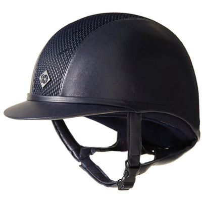 Charles Owen Ayr8 Plus Leather Look Riding Helmet Navy