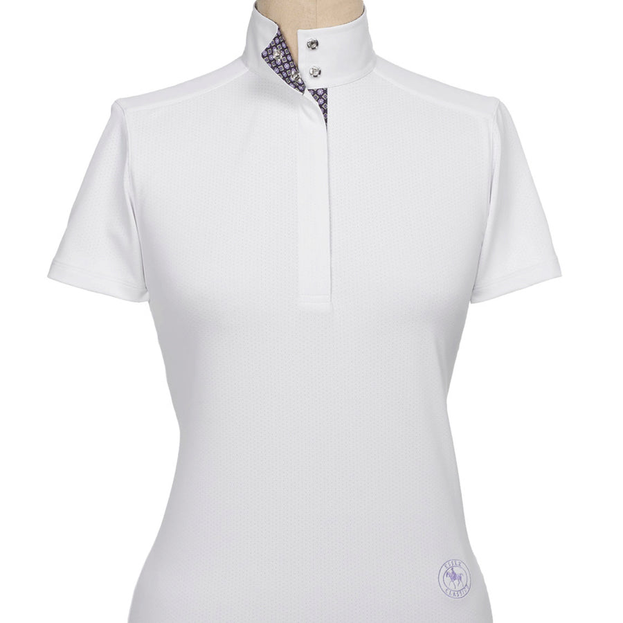 Essex Classics Women's Straight Collar Euro Talent Yarn Short Sleeve Show Shirt