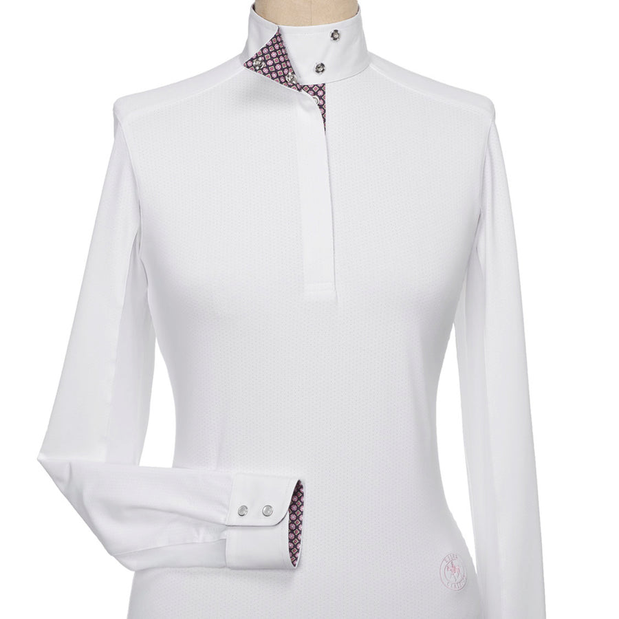 Essex Classics Women's Wrap Collar Talent Yarn Long Sleeve Show Shirt