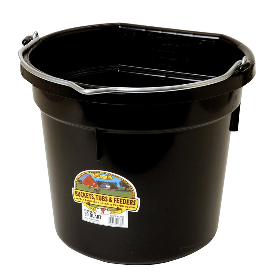 Flat Back Water Bucket 20-Quart Black