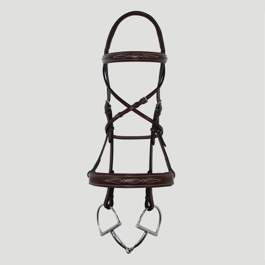 Hadfield's Raised Double Diamond Stitched Wide Noseband Hunter Bridle