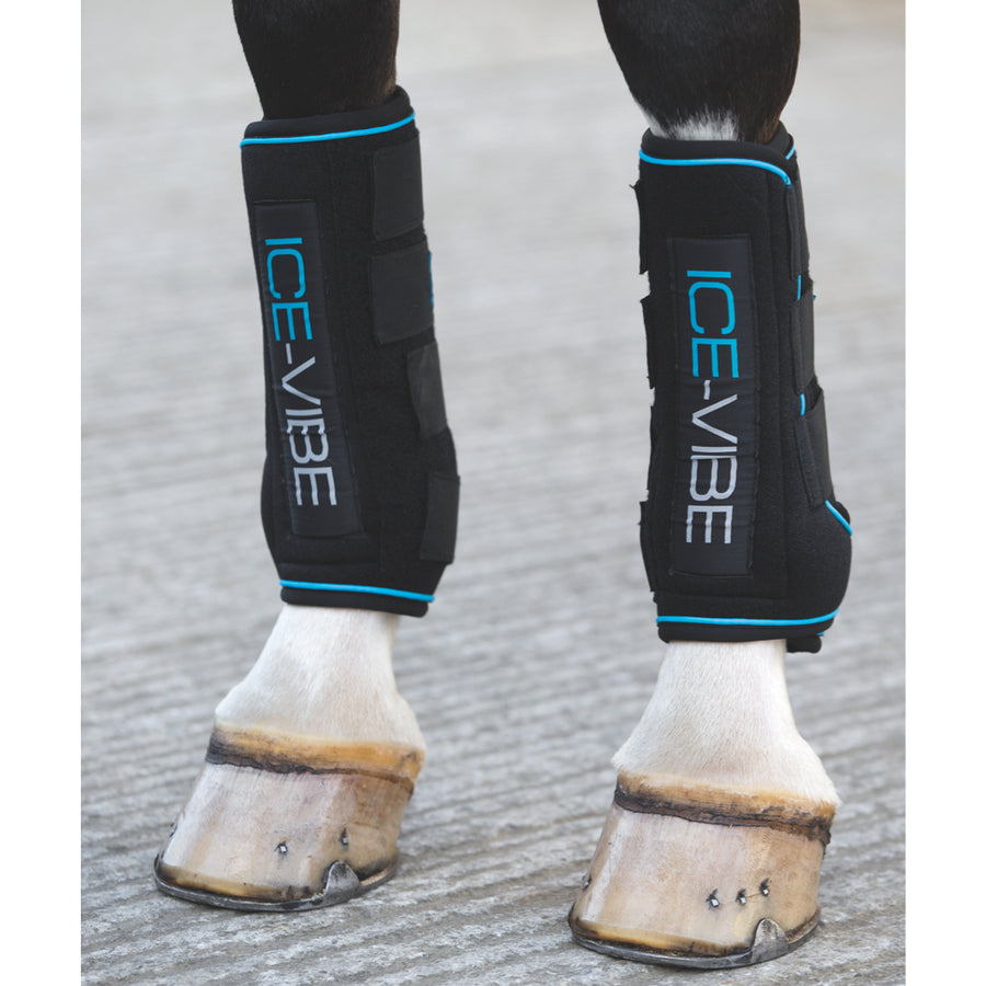 Horseware Ice Vibe Therapeutic Boots Black with Aqua