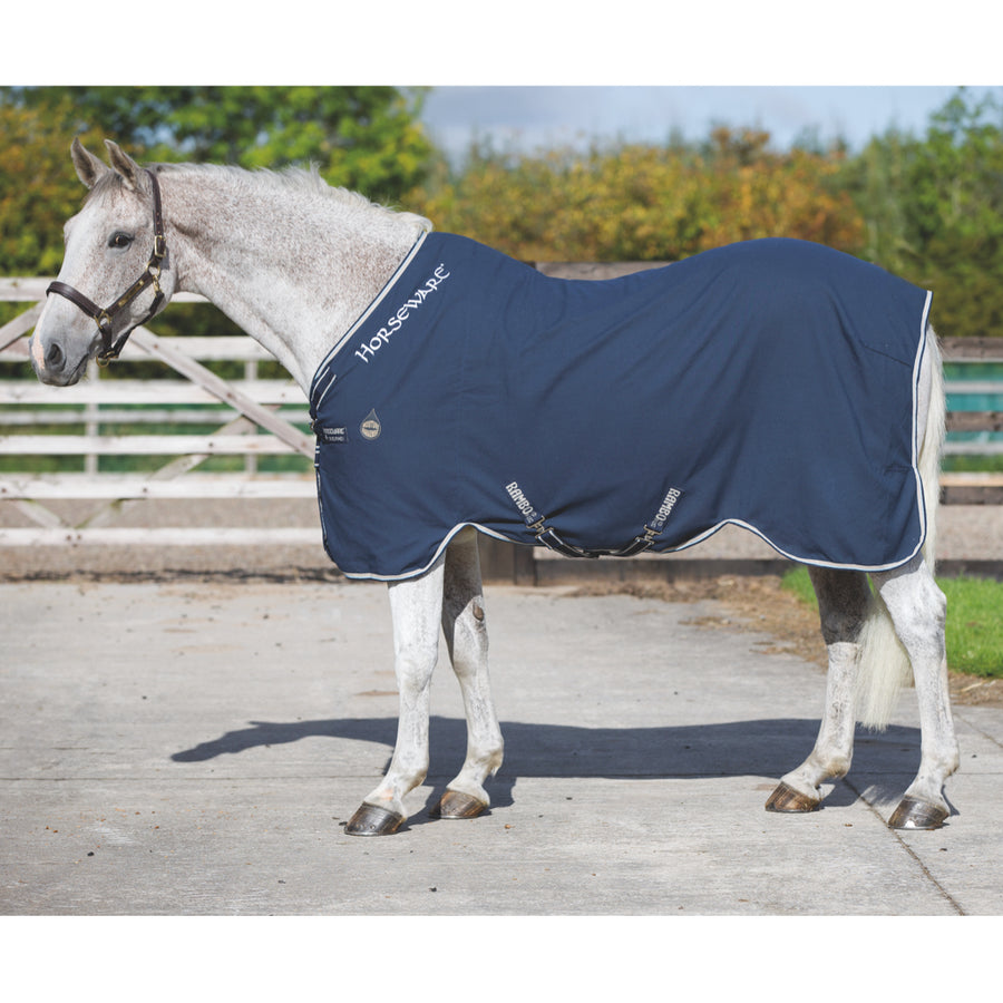 Horseware Rambo Helix Stable Sheet Navy with Beige and Baby Blue