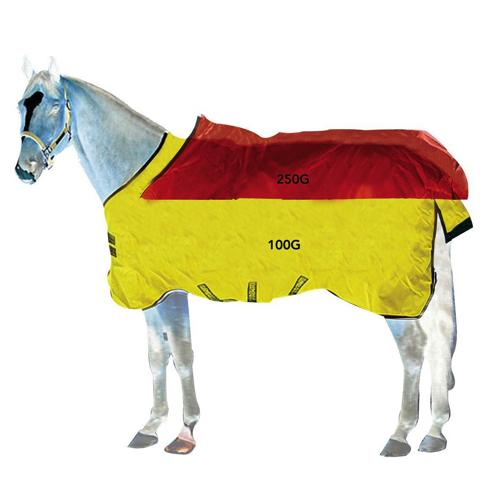 Horseware Rambo Wug Medium Turnout Blanket with Vari-Layer Brown with Baby Blue