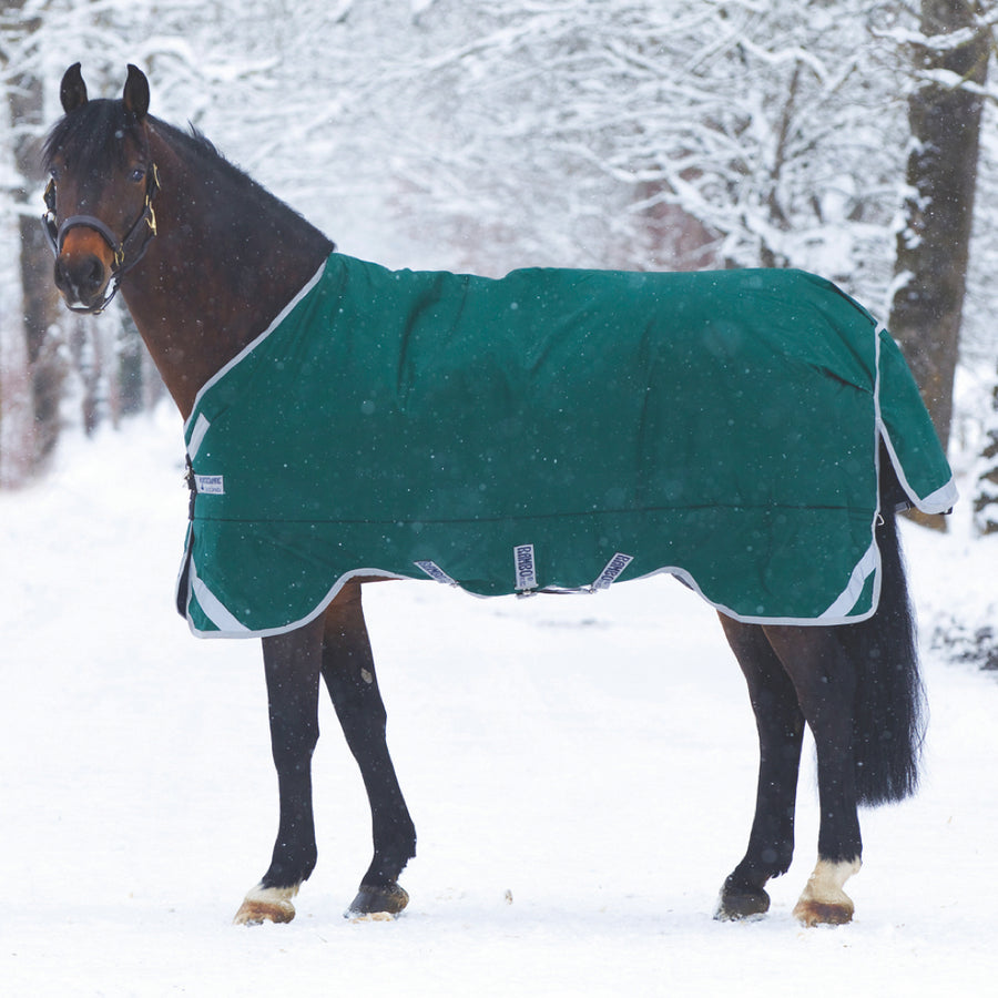 Horseware Rambo Original wit Leg Arches Heavy Turnout Blanket Green with Silver