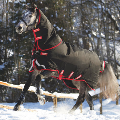 Horseware Rambo Supreme Heavy Turnout Blanket with Vari-Layer Black with Red