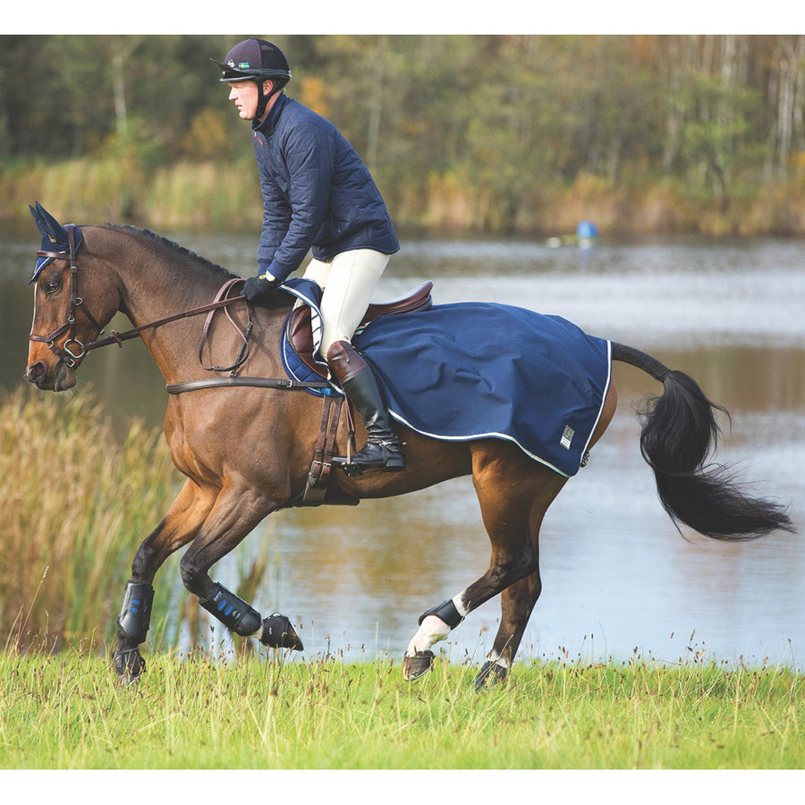 Horseware Rambo Waterproof Fleece Competition Quarter Sheet Navy with Beige and Baby Blue