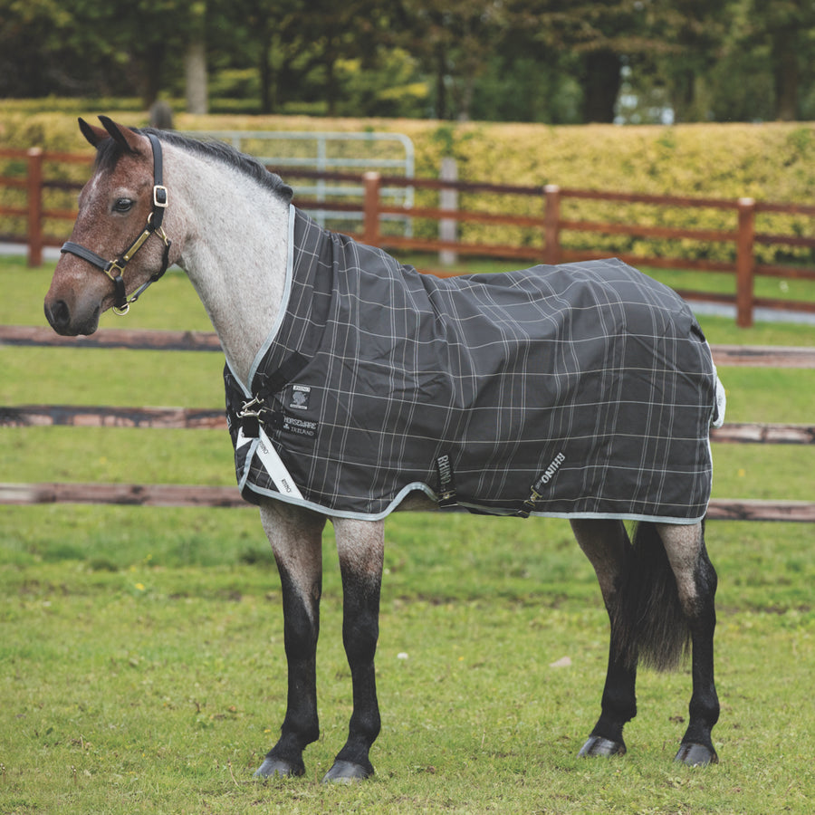 Horseware Rhino Pony Wug Lite Turnout Sheet Black and Grey Checkered with Grey