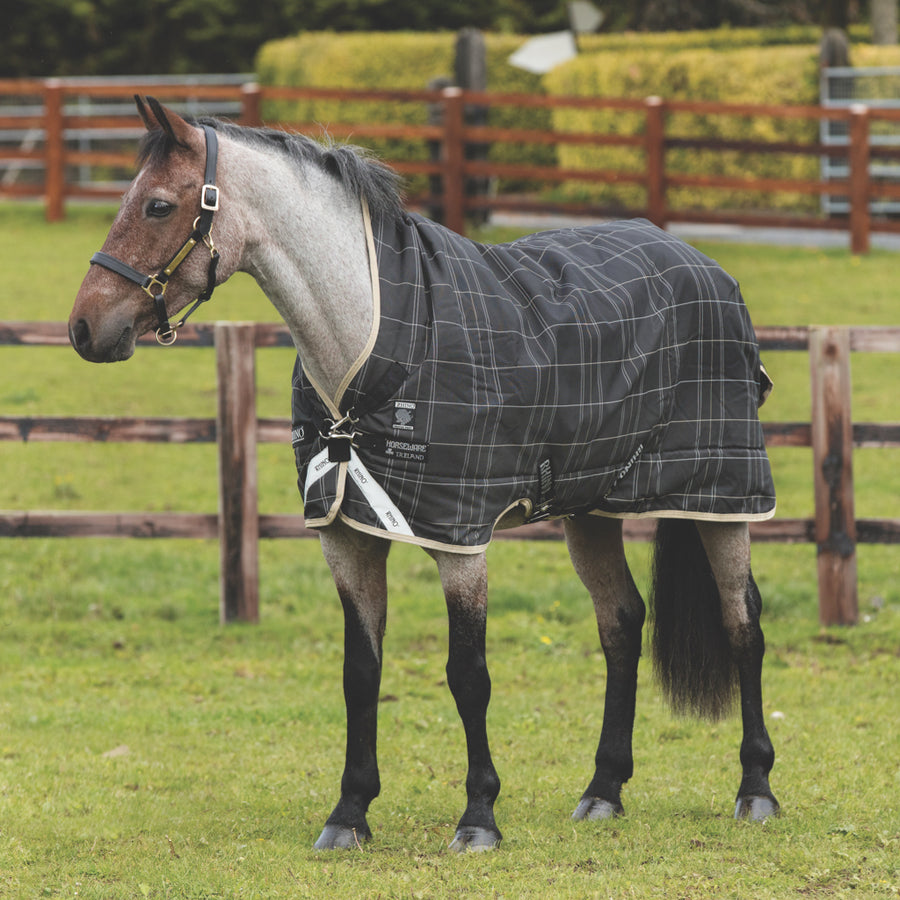 Horseware Rhino Pony Wug Medium Turnout Blanket Black and Grey Checkered with Safari