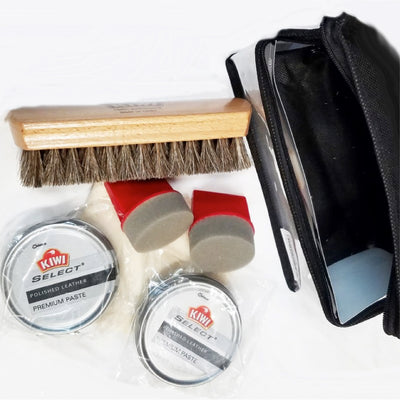 Kiwi Travel Boot Polish Kit Items