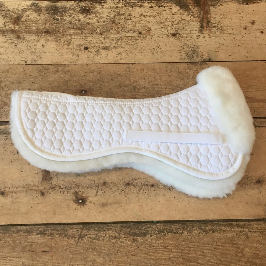 Mattes Gold Sheepswool Dressage Half Pad without Rear Trim White