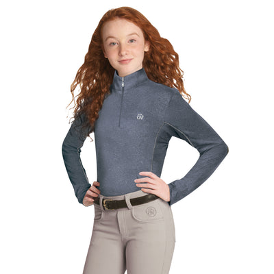 Ovation Girl's SoftFlex Technical Long Sleeve Shirt Navy Melange