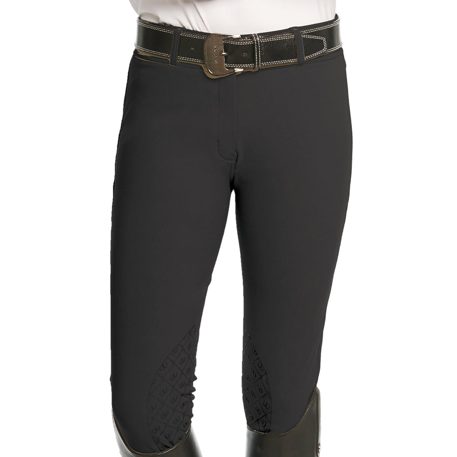 Ovation Woman's Bellissima Knee Patch Grip Riding Breech Dark Grey