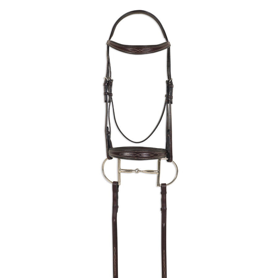 Pessoa Pro Raised Fancy Stitched Padded Tapered Hunter Bridle Dark Brown