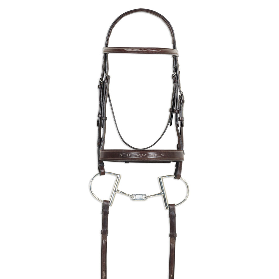 Pessoa Pro Raised Fancy Stitched Wide Noseband Hunter Bridle on Horse
