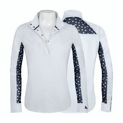 RJ Classics Girl's Lauren Show Shirt White with Navy Hearts
