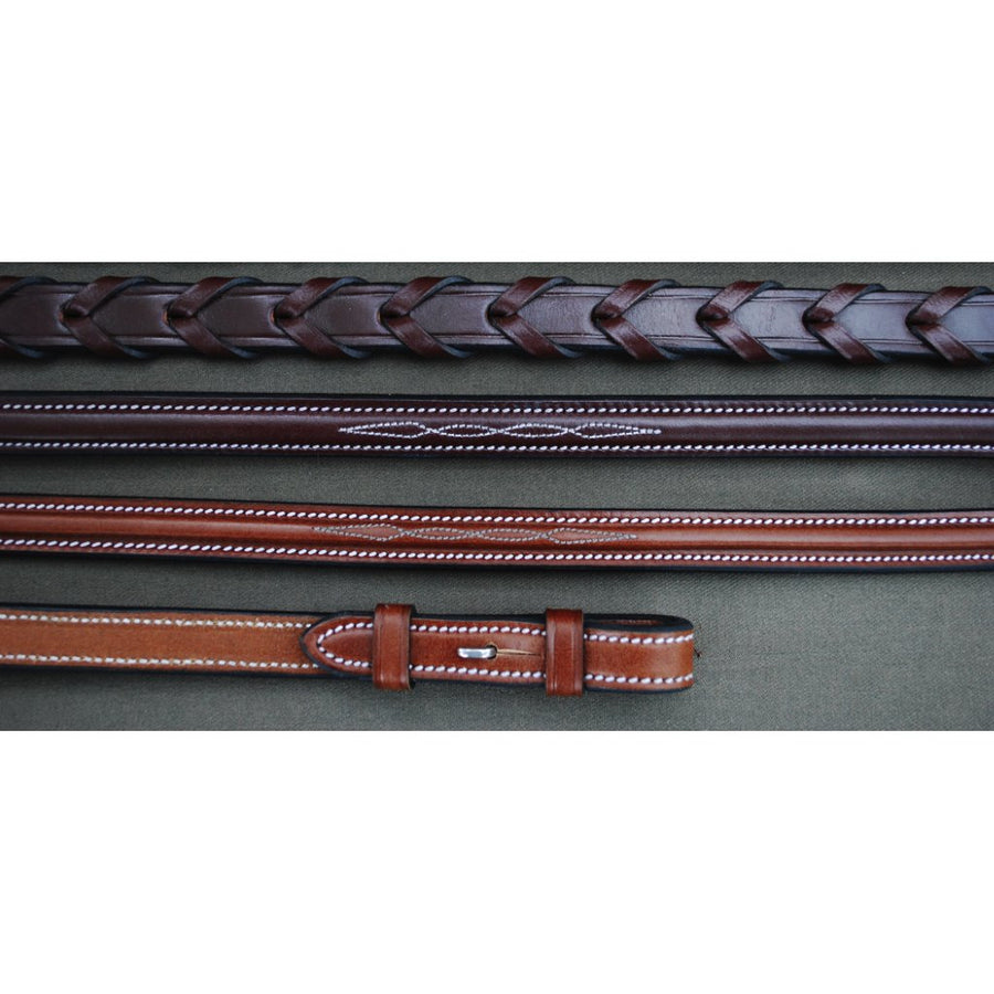 Red Barn Raised Fancy Stitched Laced Reins