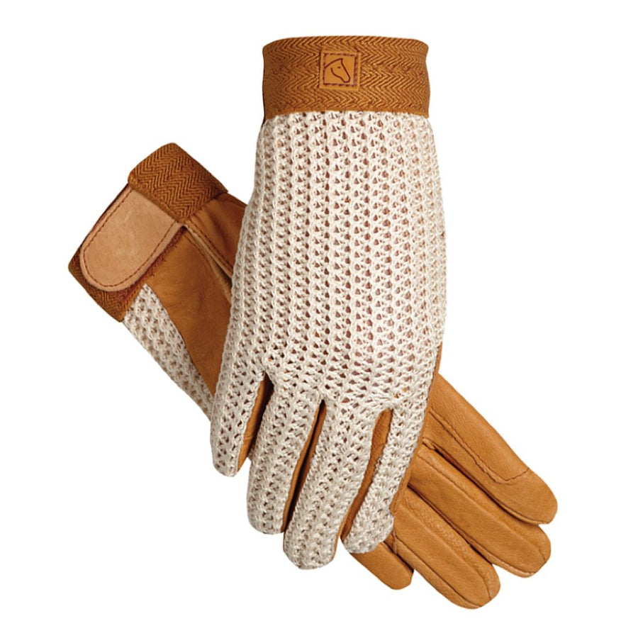 SSG Lycrochet Summer Riding Gloves Natural