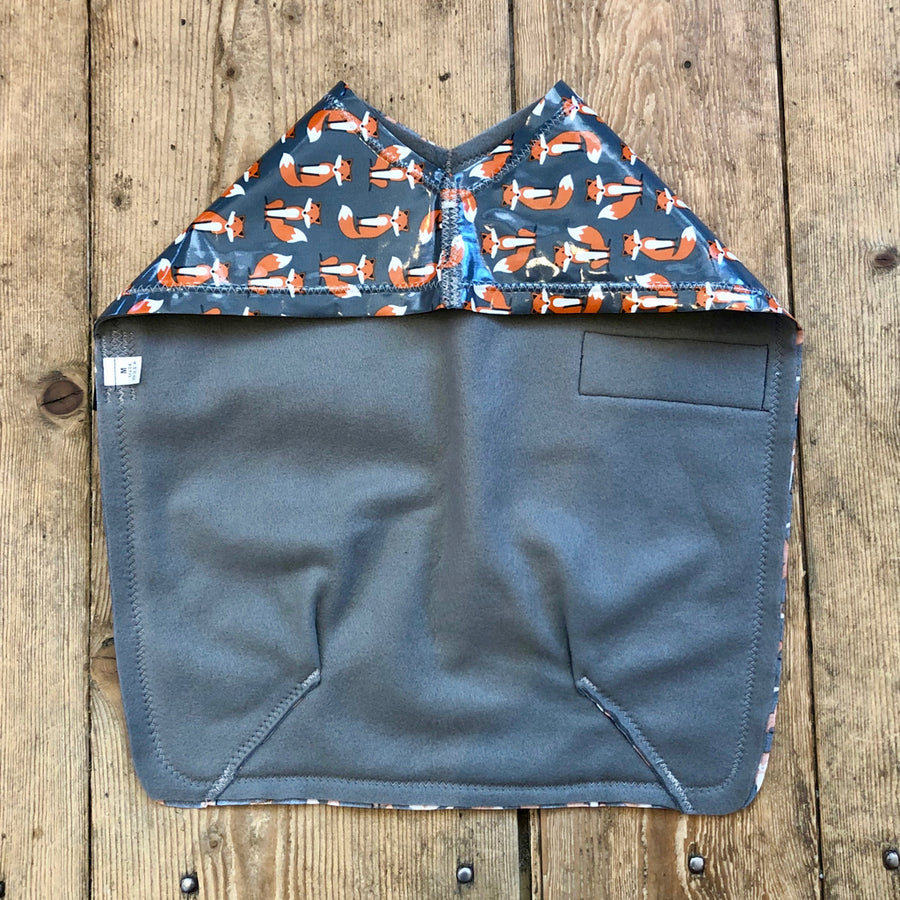 SnugPups Dog Raincoat Foxes On Grey