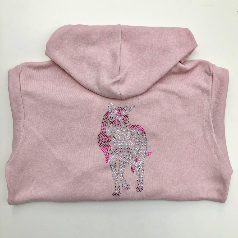 Tack and Tweed Kid's Softie Hoody Pink with Unicorn Rhinestones