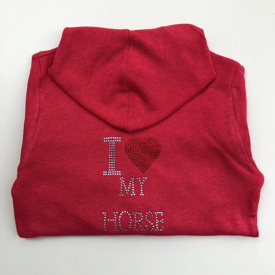 Tack and Tweed Kid's Softie Hoody Pink with I Heart My Horse Rhinestones