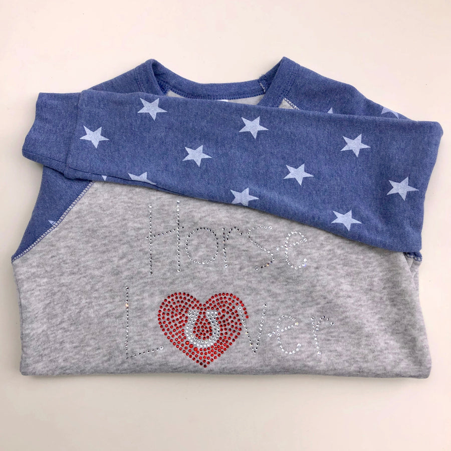 Tack and Tweed Kid's Softie Star Sweater with Horse Lover Rhinestones
