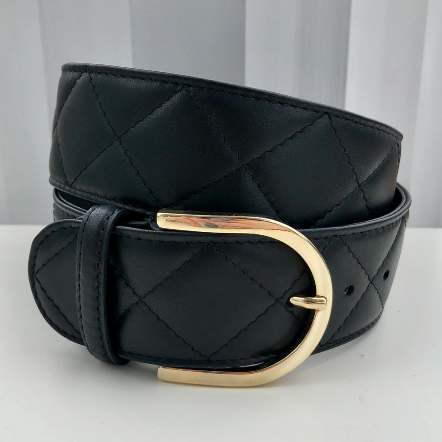 Tailored Sportsman Leather Quilted C Riding Belt Black with Gold
